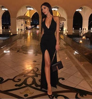 Sexy Black Prom Dress, Halter Evening Dress,Split Long Prom Dresses Evening Dresses   S6192