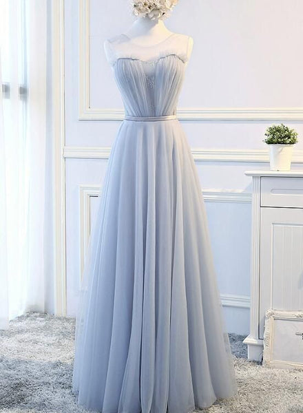 Pretty Tulle Lace-up Long Formal Dress, Lace Party Dress, Formal Gowns S6203