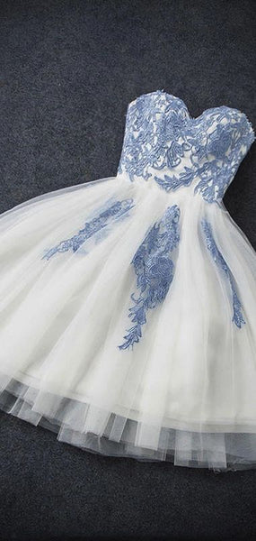 A-line Homecoming Dress Applique Tulle Blue Short Homecoming Dress  S6204
