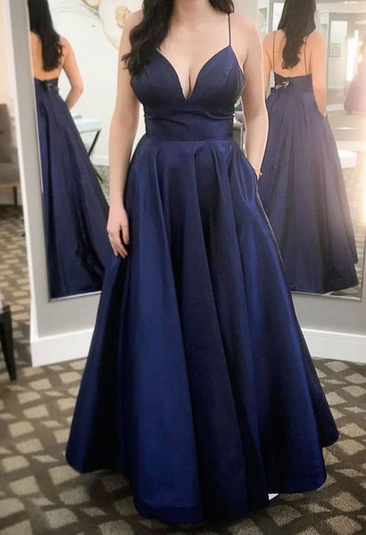 Spaghetti Straps Dark Navy Long Prom Dresses S6222