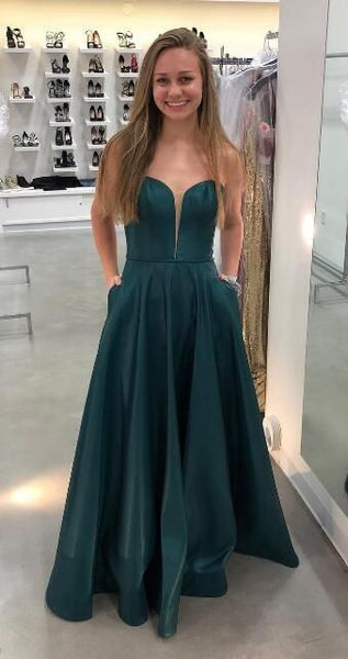 Gorgeous Sweetheart Green Long Prom Dress with Pockets  S6223