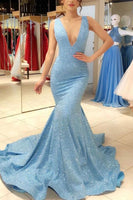 Sparkly Mermaid Deep V-neck Light Blue Prom Dresses Evening Gown  S6229