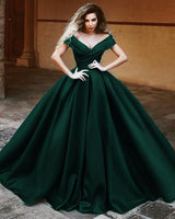 V-neck Off The Shoulder Long Satin Prom Dresses Ball Gowns   S6234