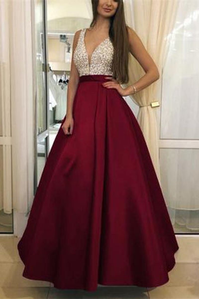 V-Neck Beaded Burgundy A-Line Prom Dress Custom Made Long Evening Party Dresses Fashion Beadings School Dance Dress    S6238