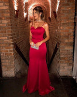 Long red Prom Dresses with spaghetti straps   S6239