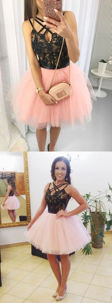 A-Line Cross Neck Pink Tulle Homecoming Dress with Lace Beading S623