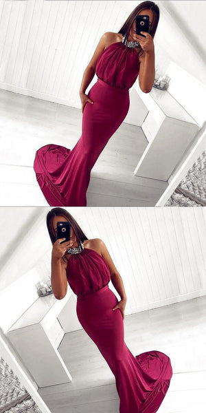 Mermaid Halter Backless Burgundy Beaded Long Prom Dress S6245