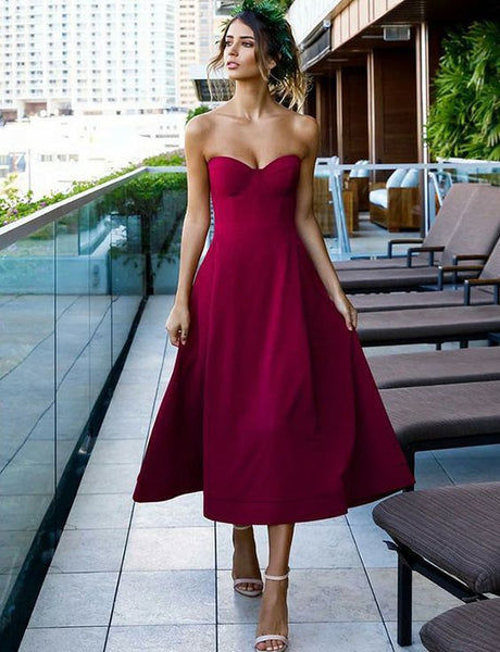 Simple A Line Sweetheart Tea Length  Satin Prom Party Dress S624