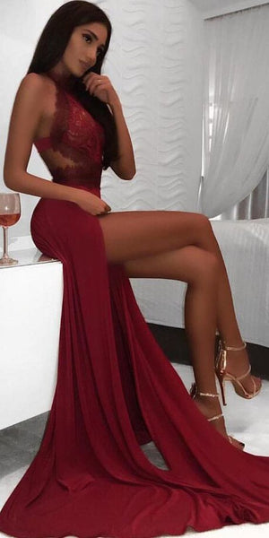 Halter Sexy Lace Side Slits A Line Long Prom Dresses  S6251