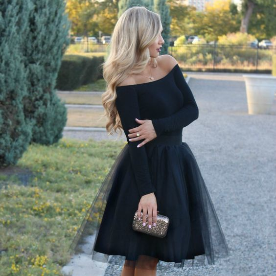 Chic Black Tulle  Short  Homecoming  Dress   S6254