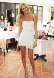 Bateau Sleeveless White Homecoming Dress   S6255