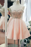 Sweetheart Neck Satin Blush Pink Homecoming Dresses with Rhinestone S625