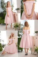 Cheap Off the Shoulder Neck Pleated A-line Tea Length Prom Dress S626