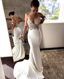 Charming Lace Sexy Backless Mermaid Jersey Prom Dresses  S6270
