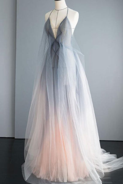 Gray tulle long prom dress gray tulle formal dress  S6283