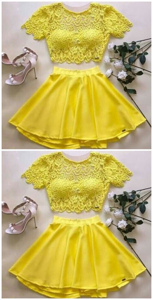 Yellow two piece homecoming dress  S6290