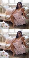 A-Line Deep V-Neck Pink Lace Homecoming Dress S628