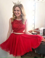 Two Piece A Line Jewel Sleeveless Red Short Homecoming Dress with Beading S629