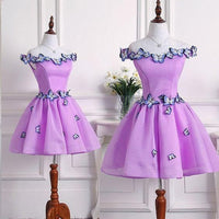 Beautiful Purple Tulle Short Party Dress, Homecoming Dress  S6305