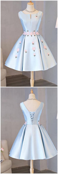 Sky Blue Satin Homecoming Dresses with Flower  S6306