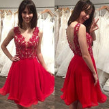 V-neck Red Homecoming Dresses S630