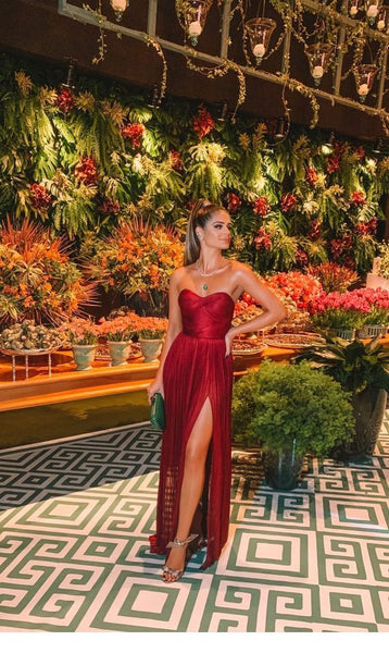 Sexy Burgundy Strapless Side-Slit A-Line Long Prom Dresses S6311