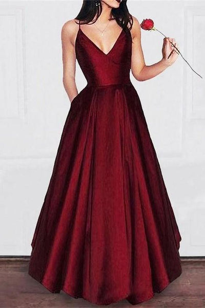Spaghetti Straps V-Neck Long Burgundy Satin Prom Dresses With Pockets S6310