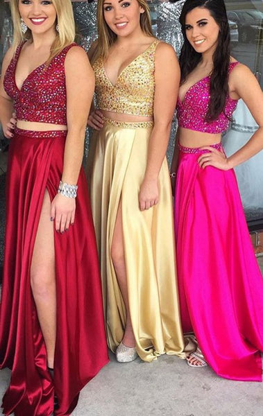 Two Piece Deep V Neck Crystals Long Prom Dress Sexy Formal Gown   S6316