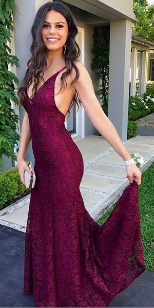 Sexy V-Neck Backless Prom Dress, Spaghetti Straps Lace Prom Dress   S6317