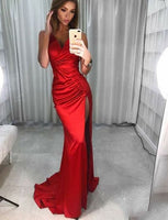Mermaid Red Prom Dresses V Neck Sweep Train Simple Evening Gowns with Split  S6319