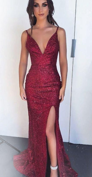 Gorgeous Mermaid Wine Red Sequined Evening Dress with Side Slit, Straps V Neck Burgundy Prom Dress S6320