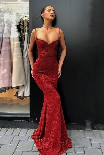 Spaghetti Straps Sexy Red Sequin Prom Dress Mermaid S6321