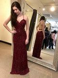 Elegant Sheath Halter Sleeveless Backless Dark Red Sequined Long Prom Dresses  S6313