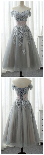 Grey Sweetheart Off Shoulder Lace Appliques A Line Homecoming Dresses S635