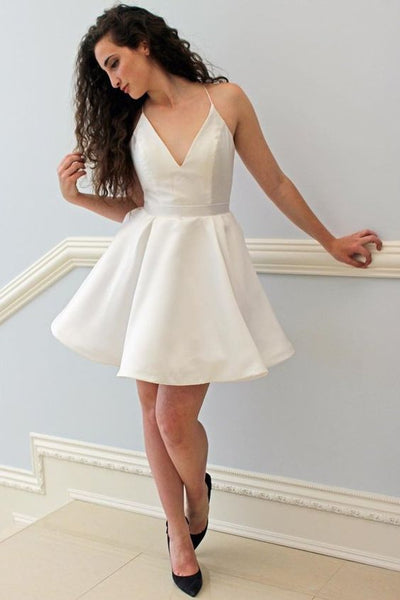 Simple Spaghetti Strap V Neck Homecoming Dresses Mini Evening Dresses  S637