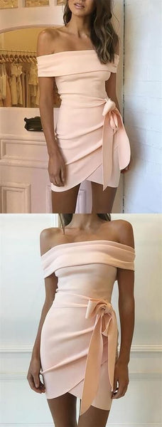 Sheath Off-the-Shoulder Short Pink Homecoming Party Dress with Sash  S647