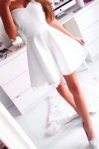 Simple A-line Sleeveless Short White Homecoming Dress S64