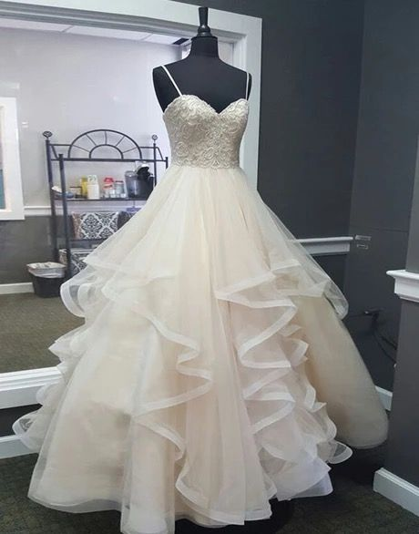 Sweetheart Creamy Tulle Spaghetti Straps Long A Line Prom Dress, Ball Gown   S6511