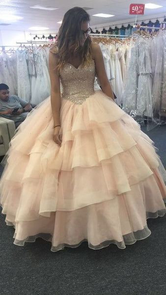 Fashion Ball Gown  Long Prom Dress  With Beading   S6510