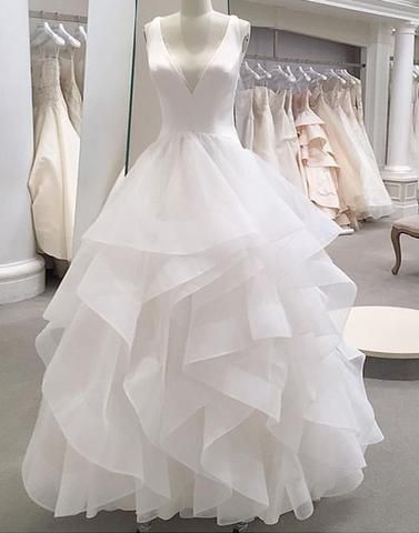 White tulle v neck long ruffles formal prom dress S6512