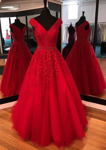 V-neck Red Prom Dresses With Applique and Beading  S6514