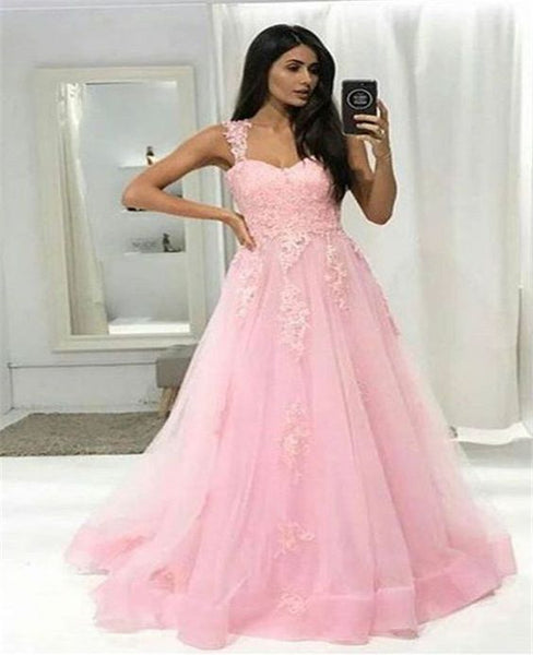 Pink Lace Appliqued Prom Dress A line Floor Length Evening Gown   S6527