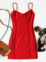 Simple Spaghetti Straps Sleeveless  Short  Homecoming  Dress  S6530