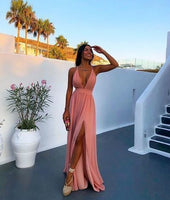 Simple Deep V neck Prom Dress, Sexy Split Slit Evening Party Dress  S6539