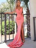 Spaghetti Straps V-neck Pleats Prom Dresses With Split S6538