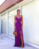Sexy V Neck purple Chiffon Prom Dress  S6540