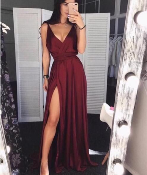 Simple Burgundy V-Neck Satin Prom Dress,Long Evening Dress With Split  S6547