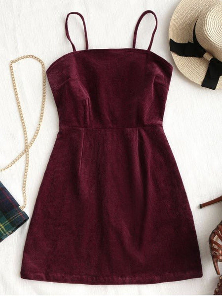 Sleeveless Spaghetti Mini A-Line Fashion Back Zipper Corduroy Mini Dress   S6550