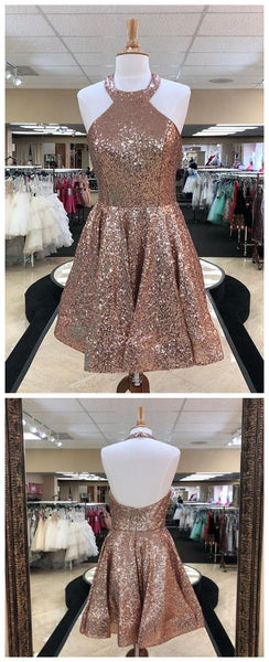 Rose Gold Halter Sleeveless Backless Sequin Short Homecoming Dresses S657