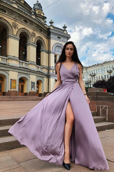 A-Line V-Neck Floor Length Sleeveless Satin Prom Dress with Split S6586